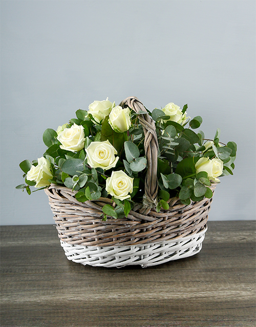 anniversary: White Roses in White and Grey Basket!