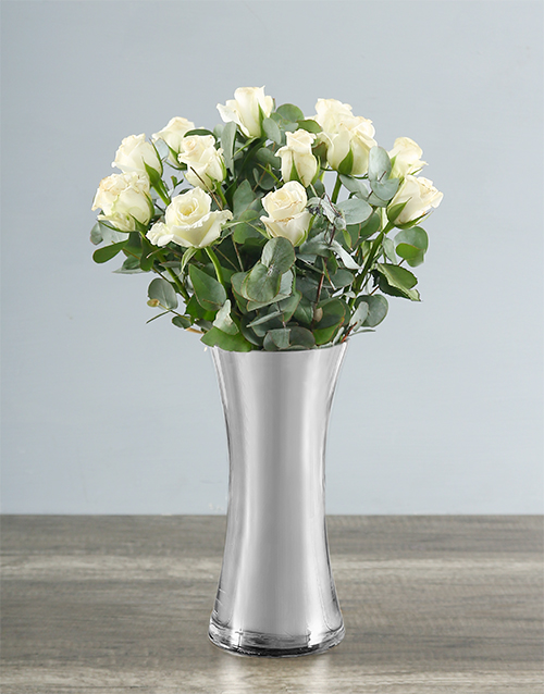 love-and-romance: White Roses in Silver Vase!