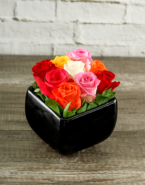 colour: Rainbow Roses in Black Square Vase!