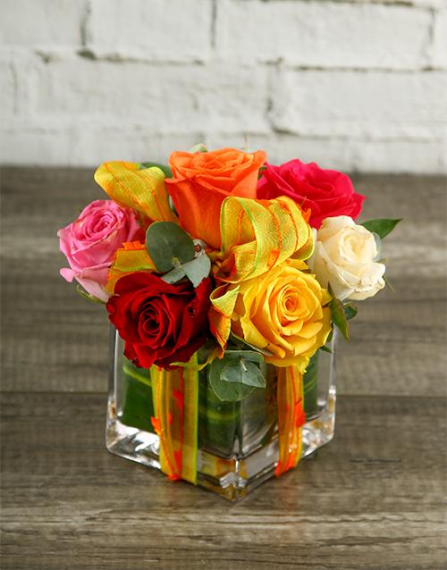 roses: Rainbow Roses in Decorated Square Vase!