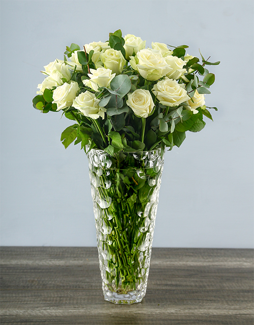 roses: White Roses in a Crystal Vase!
