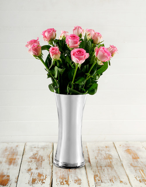 anniversary: Pink Roses in Classy Vase!
