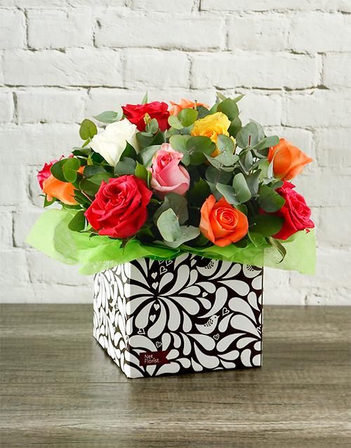 anniversary: Rainbow Roses in Designer Box!