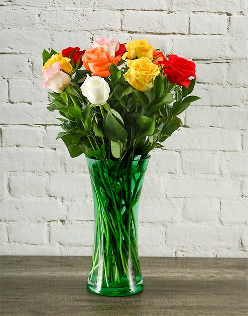 vase: Rainbow Roses in Grassy Green Vase!