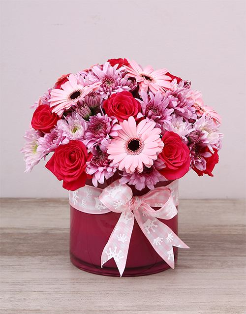 baby: Baby Girl Pink Flowers In Cylinder Vase!