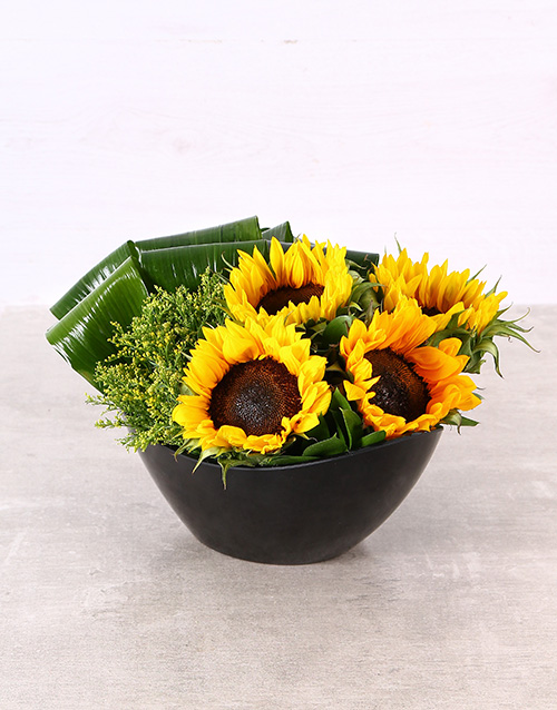 apology: Sunflowers in a Black Boat Vase!