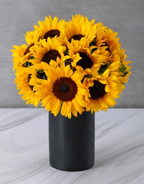 anniversary: Sunflowers in a Black Chalk Vase!