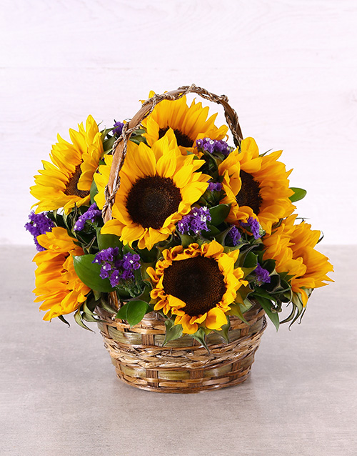 birthday: Sunflowers in a Woven Basket!