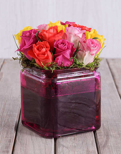 colour: Mixed Roses in a Pink Square Vase!