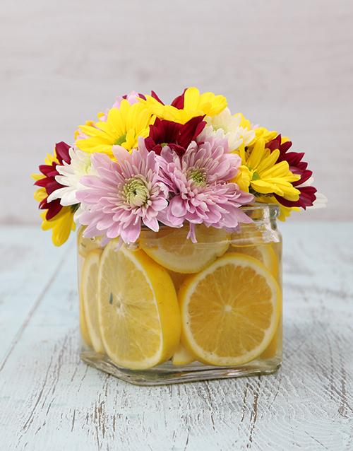 flowers: Orange Breeze in a Square Vase!