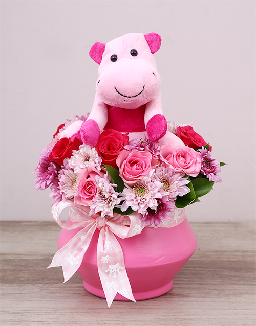 flowers: Pink Hippo Teddy and Rose Arrangement!