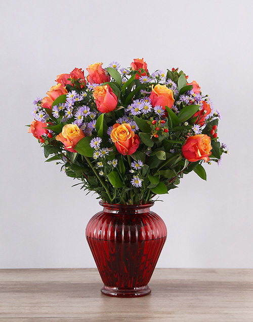 anniversary: Cherry Brandy Roses in Red Urn Vase!