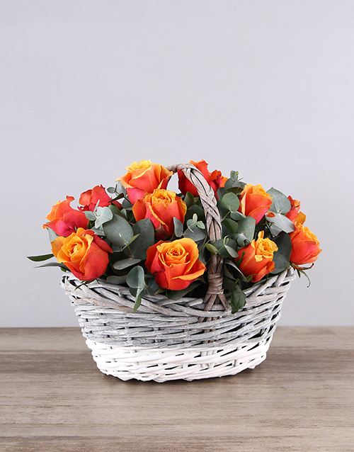 colour: Cherry Brandy Roses in Grey White Basket!