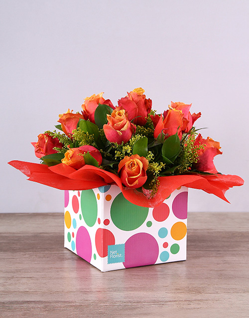 friendship: Cherry Brandy Roses in Funky Box!