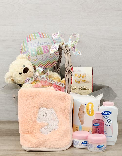 basket: Baby and Rose Pamper Hamper Arrangement!