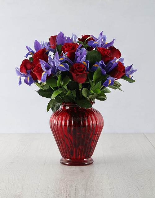 flowers: Bright Iris Rose Arrangement!