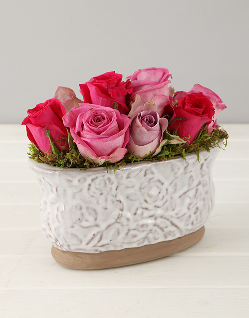 colour: Lilac and Pink Roses in Glazed Oval Pot!