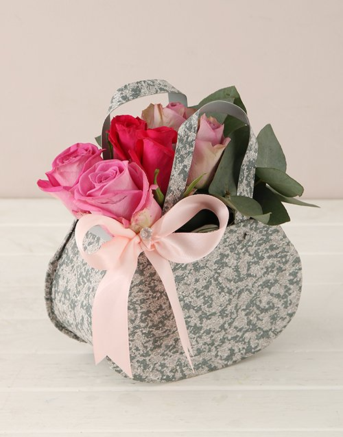 colour: Pink and Lilac Roses Steel Handbag!