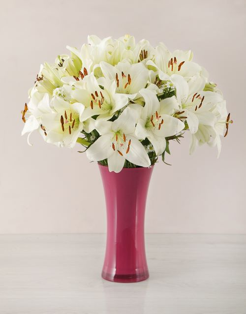 coloured-vases: White Asiflorum Lily and Golden Rod Vase!