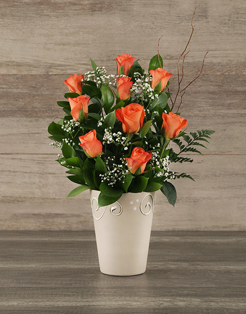 friendship: Orange Rose Pot!