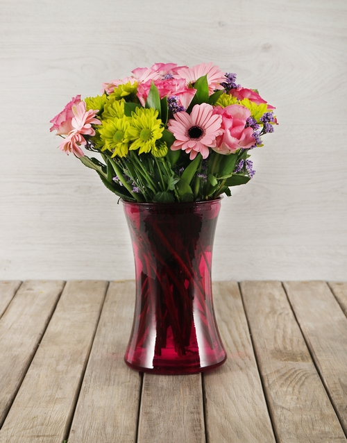 friendship: Mixed Flowers in Pink Cylinder Vase!
