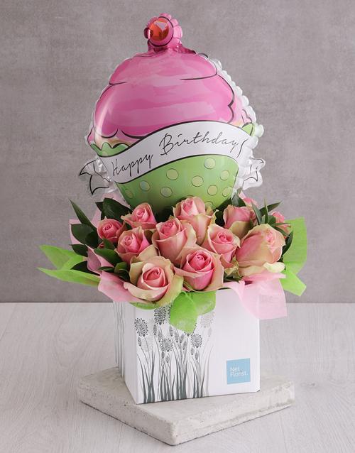 flowers: Roses and Birthday Balloon Arrangement!