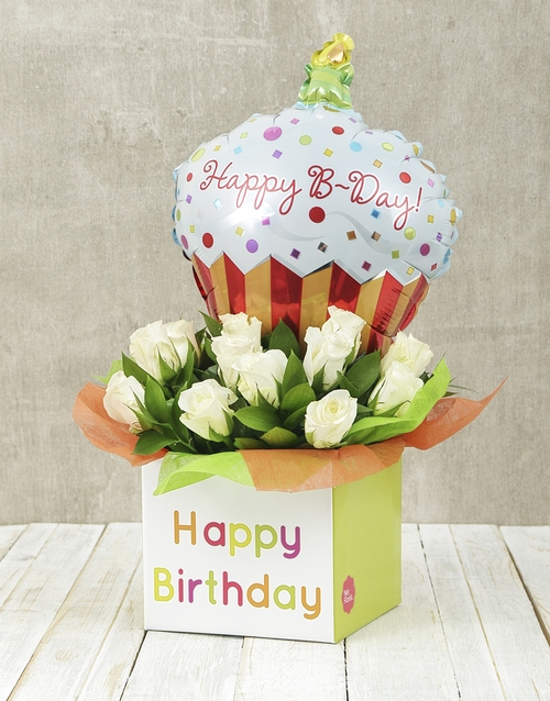 roses: Happy Birthday White Rose and Cupcake Balloon Box!