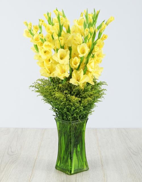 vase: Yellow Gladiolus in Green Square Vase!