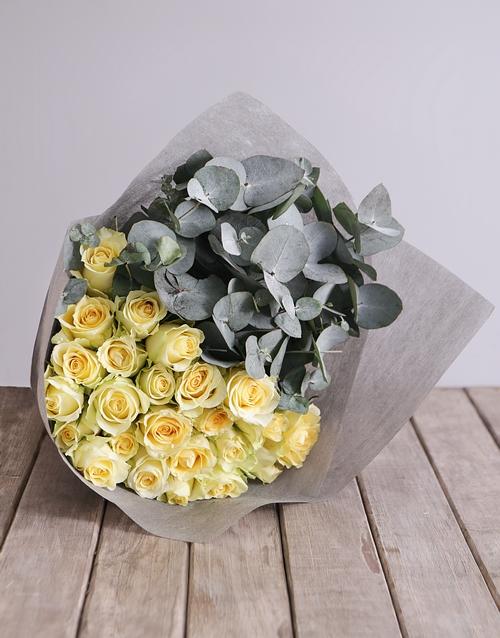 anniversary: Cream Rose and Gum Leaf Bouquet!