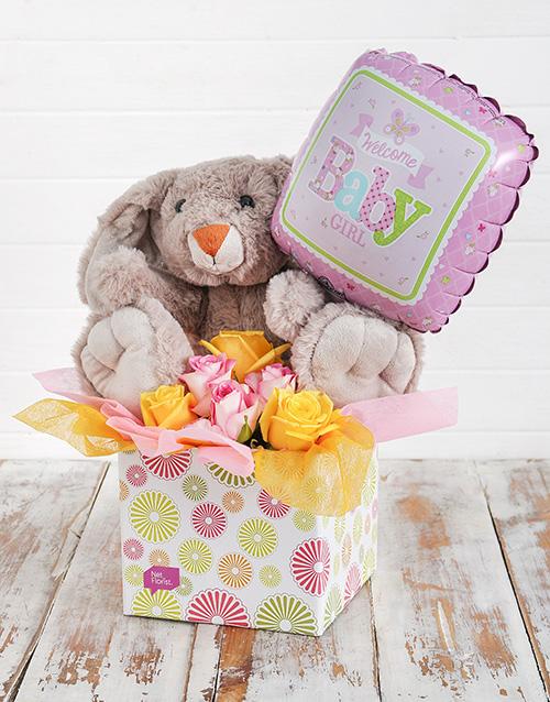 teddy-bears: Rabbit Roses and Baby Girl Balloon Box!