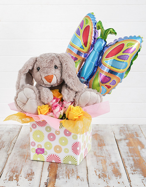 teddy-bears: Rabbit Roses and Butterfly Balloon Box!