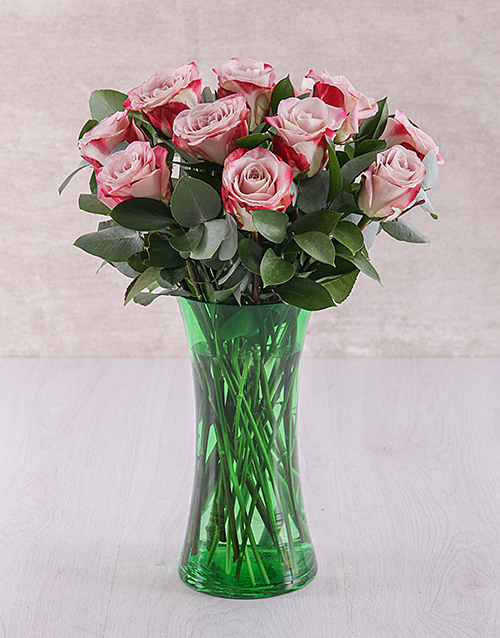 colour: Variegated Roses in Green Flair Vase!