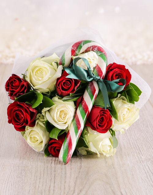 christmas: Red and White Candy Cane Bouquet!