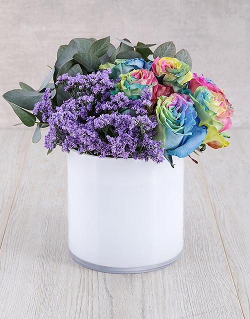 flowers: Rainbow Ethiopian Rose and Latifolia Arrangement!