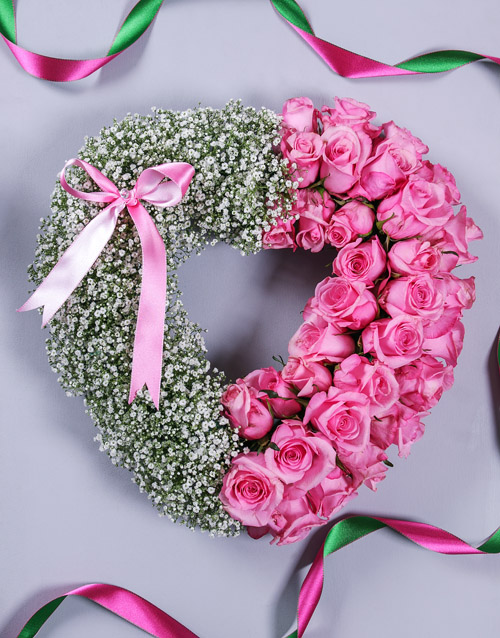 colour: Pink Rose and Million Star Funeral Heart!