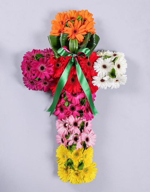 colour: Mixed Gerbera Funeral Cross!