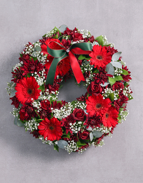 christmas: Ray of Roses Sympathy Wreath!