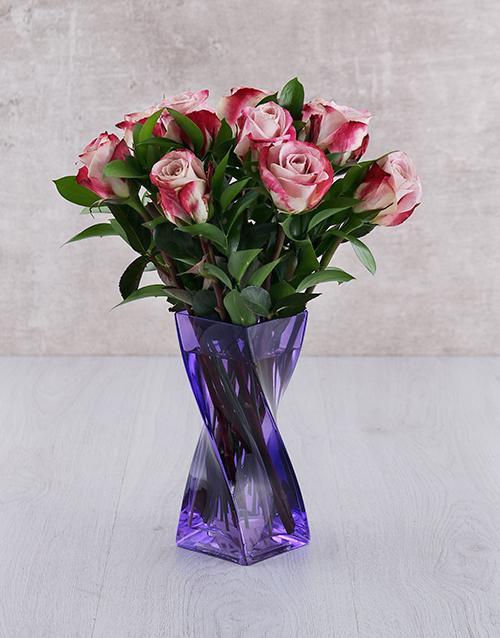 coloured-vases: Variegated Roses in Purple Twisty Vase!