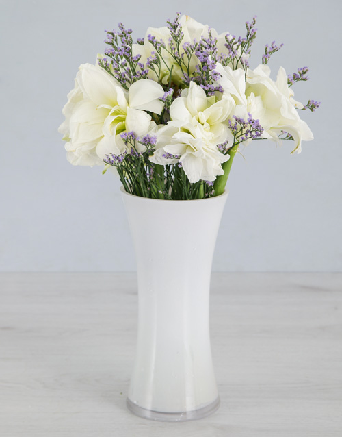flowers: Cut Amaryllis and Latifolia in White Flair Vase!
