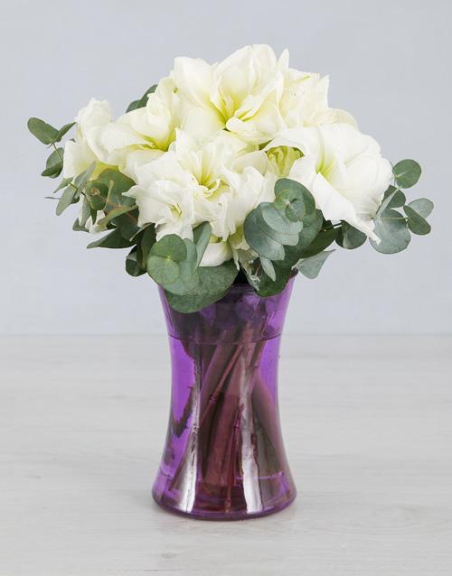 coloured-vases: Cut Amaryllis in Purple Cylinder Vase!
