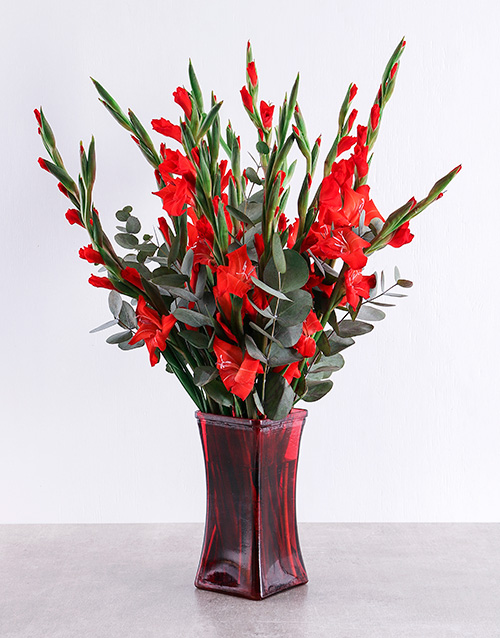 year-end: Red Gladioli in Red Square Vase!