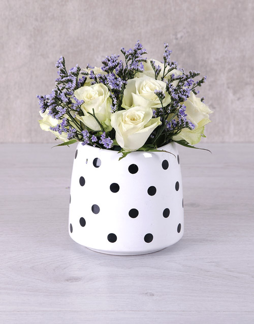 anniversary: White Roses in Polka Dot Vase!