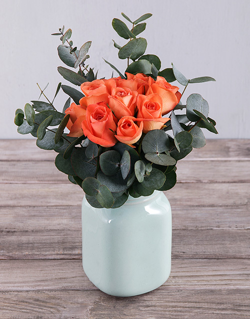 apology: Orange Roses in Mint Vase!