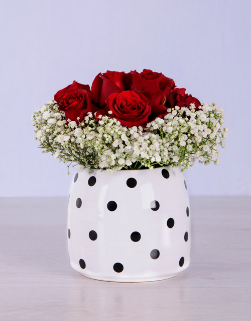anniversary: Red Roses in Spotted Pot!