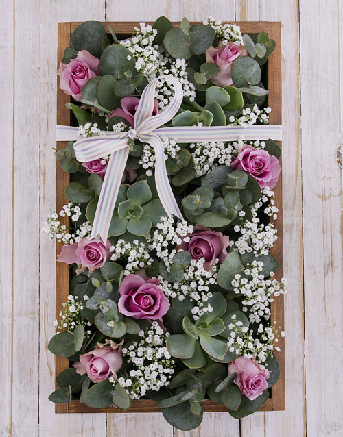 colour: Purple Roses with Succulents in Wooden Crate!
