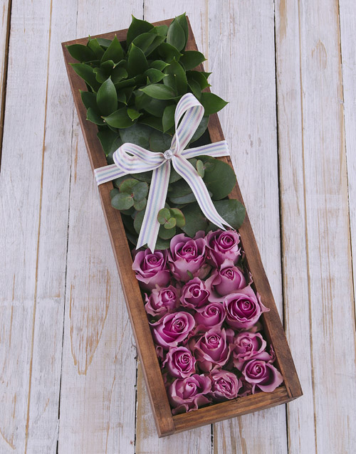 anniversary: Purple Roses in Wooden Crate!
