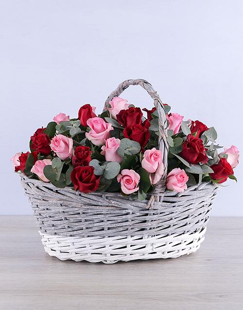 basket: Mixed Roses in Grey Willow Basket!