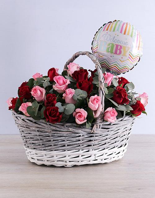 basket: Welcome Baby Rose Basket!