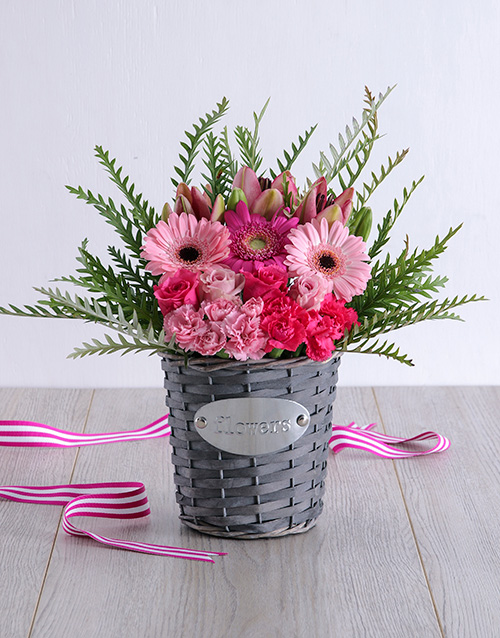 baby: Pink Floral in Grey Basket!