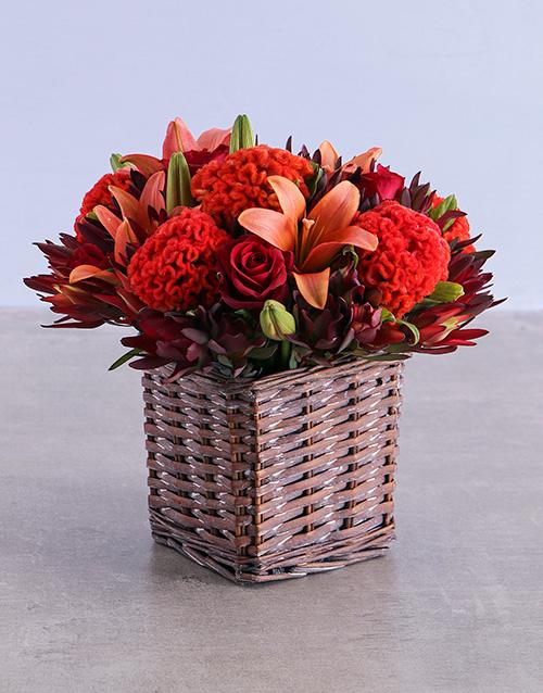 colour: Orange Flowers in Square Basket!
